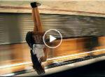 Sleeping girl fall in subway