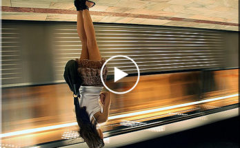 Sleeping girl fall in subway