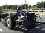 Truck chassis on highway